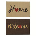 JVL Welcome Home Brown Beige Indoor Machine Washable Door Mat, 40 x 60 cm
