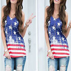 Independence Day Women Casual O-Neck Sleeveless Vest T shirt Top Print Tank Tops