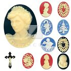 2/4/6pcs Resin Cameo Retro Vintage Style Christmas Series 10 Styles 4 Colours OB