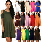 US Women's Cold Shoulder Casual Tunic Top T-shirt Swing Dress With Pockets