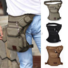 Men Canvas Drop Leg Bag Motorcycle Rider Military Belt Waist Fanny Pack US Stock