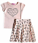 Girls Skater Skirt Outfit New Kids Cat Short Sleeved T-Shirt Set Ages 3- 8 Years