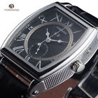Mens Automatic Mechanical Watches Leather Strap Rectangle Date Luxury Fashion
