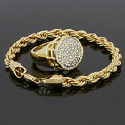 14k Gold Plated Rope Bracelet & Round Ring Cz Ring Iced Out Hip Hop Sizes 7-12