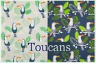 Toucans - Nursery Kids Novelty Polycotton Fabric - Silver & Navy - by 1/2 metre