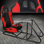 ADJUSTABLE DUAL COLOR RACING SEAT COCKPIT SIMULATOR CHAIR W/PEDAL+SHIFTER MOUNT