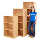Beach or Oak Wooden Bookcase Storage Shelving Unit for Home - 3 Sizes available