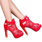 Women Sexy Lace Flowers Open Toes Prom Party High Heels Ankle Boots