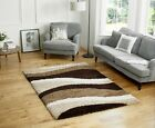 LARGE THICK SHAGGY CHOCOLATE BROWN BEIGE STRIPED RUG