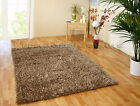 LARGE EXTRA THICK SHAGGY SHINY GOLD CHAMPAGNE BEIGE TRENDY SPIDER RUG