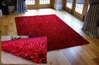 MEDIUM / DARK RED THICK STRAND LARGE SHAGGY PILE RUG, STOCK CLEARANCE