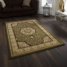 SMALL -X EXTRA LARGE GREEN TRADITIONAL CLASSIC THICK DENSE LUXURY WOOL-LOOK RUGS