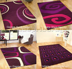 LARGE TO EXTRA LARGE MODERN MAGENTA PURPLE AUBERGINE PINK CREAM SWIRLS RUG