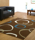 MEDIUM & LARGE CHOCOLATE BROWN TEAL BLUE CREAM BEIGE CIRCLES FUNKY MODERN RUG