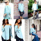 Women Off Shoulder Long Sleeve Fashion Shirt Casual Blouse Tops Loose T-shirt