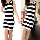 New Arrival Summer Girls Black And White Stripes Cotton Casual Vest Dresses