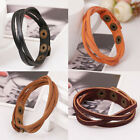 Genuine Leather Multilayer Wrap Bracelet Adjustable Snap Men Women Tribal Surfer