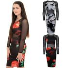 Ladies Long Sleeve Mesh Insert Floral Flower Printed Bodycon Pencil Midi Dress