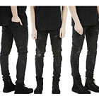 Men's Casual Skinny Biker Jeans Straight Ripped Distressed Denim Pants Trousers