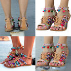 Ethnic Style Lady Sandals Gladiator PU Leather Flat Shoes Pom-Pom Sandals New
