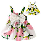 Baby Girls Lemon Printed Infant Outfit Sleeveless Princess Summer Dress Clothes