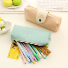 Girls Cute Leather Pencil Case Stationery Cosmetics Make Up Bag Zipper Pouch Box
