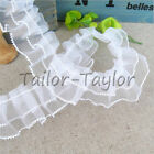 5/10 yd White Organza Lace Edge Trim Gathered Pleated Chiffon Wedding Sewing DIY