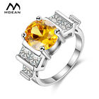 White Gold Color Rings for Women Wedding Engagement Fashion Yellow Zircon H043