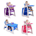 3 in 1 Baby Convertible Play Table Seat High Chair Booster Toddler Feeding Tray