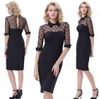 Ladies Vintage Half Sleeve Mesh Lapel Collar Hips-Wrapped Formal Pencil Dress