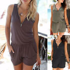 One Piece Summer Women Rompers Loose Sleeveless V-neck Lace-up Jumpsuit Playsuit