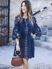 ZARA TRF BOHO KLEID STICKEREI HIPPIE S M L NAVY EMBROIDERED COTTON