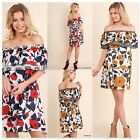 Umgee USA Womens Floral Print Ruffle Off Shoulder Dress 2 Colors Sizes S M L