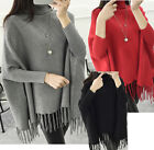 Womens Loose dolman sleeved Pullovers Knit Tassels Sweaters high-neck Cardigans