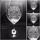 OWL  engraved, etched set 4 glasses, gift, nuptials, personalised free