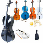4/4 Size Black Nature Professional Acoustic Cello +Bag+ Bow+ Rosin+ Bridge UK