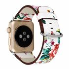 Watch Band Strap Black White Painted Leather Apple Watch Flower Design Wrist