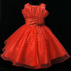 Kids Reds Baptism Christening Pageant Girls Dresses AGE SIZE 2-3-4-5-6-7-8-9-10T