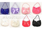 Kids Girls Evening Wedding Dress up Bag Handbag Purse Rose Ribbon Bow Beads
