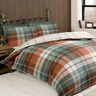 Modern Tartan Check 100% Cotton Flannelette Duvet Cover - Terracotta Brown Green
