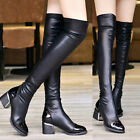 Women's Leather Boots Knee Thigh High Heel Sexy Nightclub Stretch Block Shoes