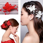 1x Butterfly Hair Clips Bride Headdress Lace Pearl Handmade Wedding Fashion BL