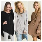 Umgee USA Ladies Asymmetrical Long Sleeve Tunic Top 3 Colors Size S-M NWT