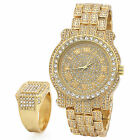 Hip Hop Iced out 14k Gold Tone Techno Pave Bling Fully Cz Ring & Rapper Watch