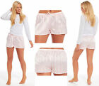 Ladies Satin Bed Pyjama Shorts Night Matte Pink White Candy Stripe Tie Waist