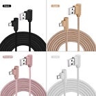 10FT 90 Degree Right Angle Micro USB Charging Data Cable Braided Nylon Cord Line