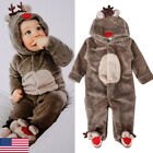 Newborn Kids Baby Girl Boy Deer Romper Winter Warm Outwear Outfits Clothes Set