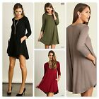 Umgee Womens Scoop Neck T-Shirt Dress with Side Pockets 4 Colors Size S-M