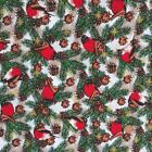 Christmas Fabric Robins & pine cone sold per 1/2 Metre / Fat quarter 100% cotton