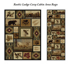 Wildlife Themed Area Rug Rustic Lodge Cozy Cabin Décor Bear Deer Rugs Clearance